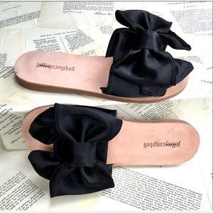 Jeffrey Campbell Bow Sandal black Satin Tan Sole 9